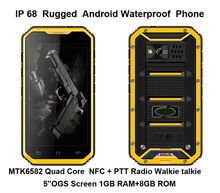 original DG2 IP68 Rugged Waterproof phone Mobile Android MTK6582 Quad Core 5″ Phone 1280×720 NFC GPS 3G UHF Radio Walkie talkie