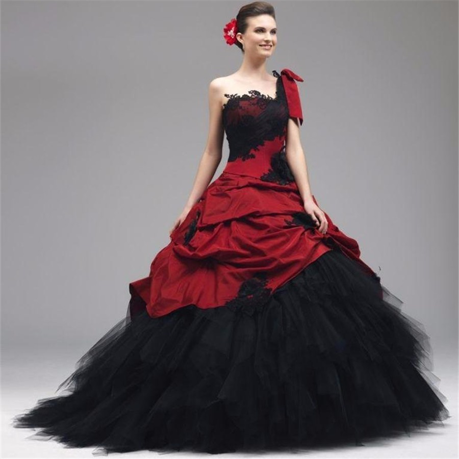 Vintage Red and Black Gothic Wedding Dresses taffeta Appliques Beading One Shoulder Long Bridal Gowns Custom