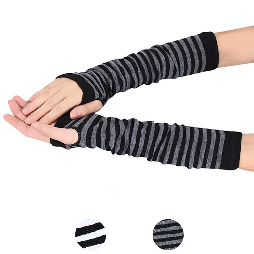 MUQGEW Winter Wrist Arm Hand Arm Warmers Knitted Long Fingerless Gloves Sleeve Fingerless Gloves Soft Warm Mitten Elbow Mittens