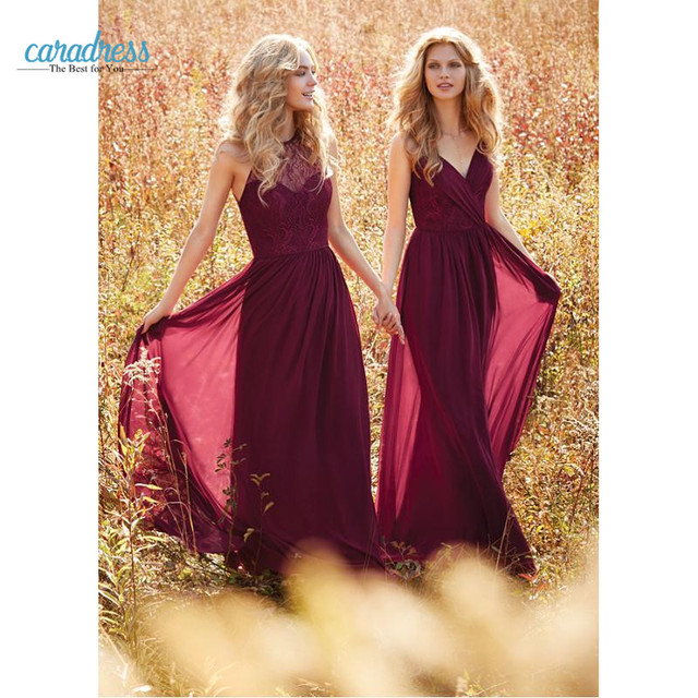 2017 Elegant Burgundy Lace Bridesmaid Dresses Long Chiffon Halter Custom A Line Floor Legnth