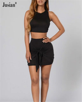 Jusian Women's O-Neck Suits 2-Piece Sleeveless Set Solid Color Black N234