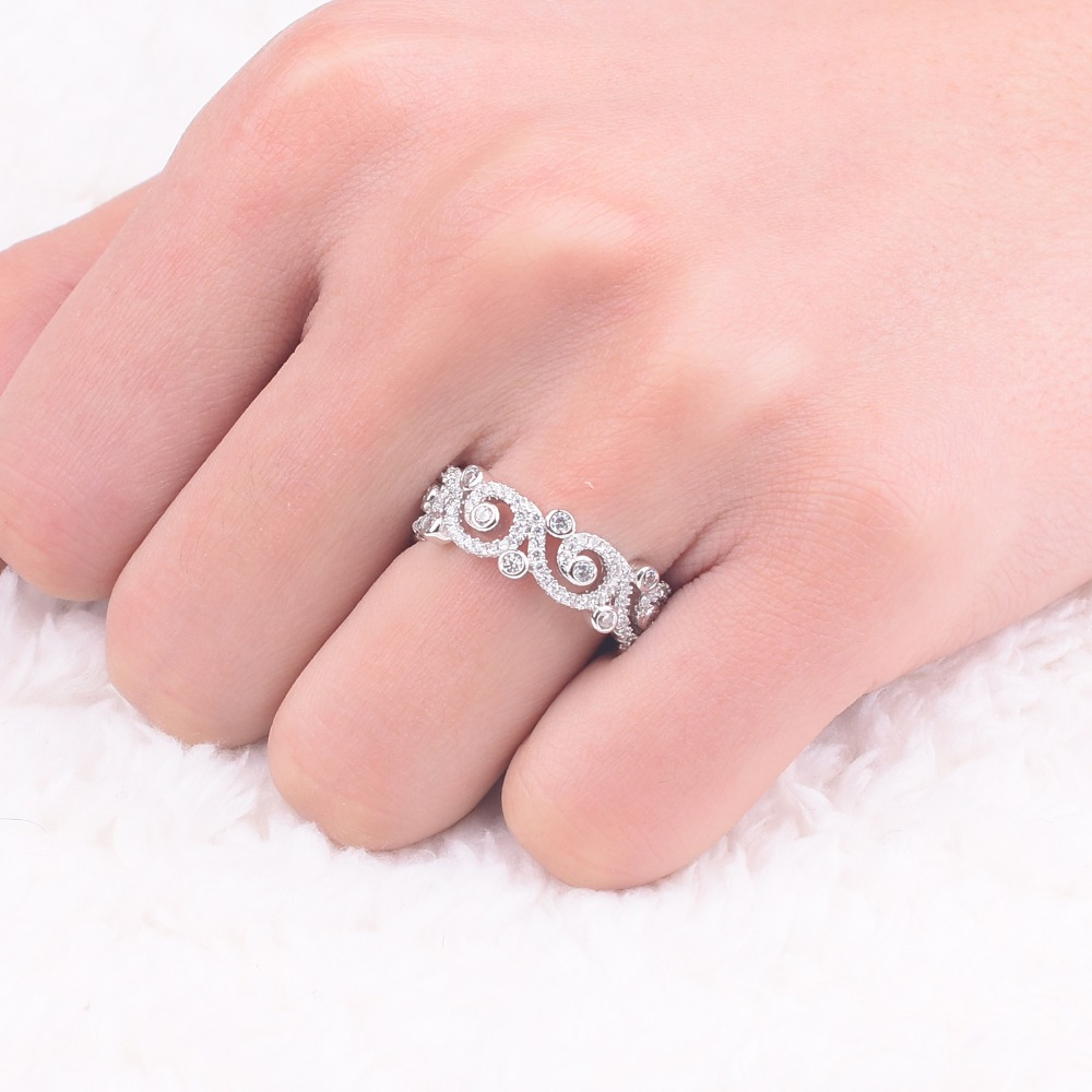 High quality Authentic 100% 925 sterlling Silver Rings jewelry pave ...