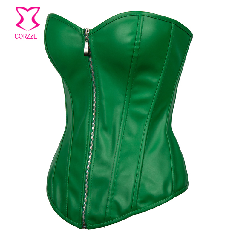 0402913db Punk Rave Bustier Sexy Green Faux Leather Corset Plus Size Corsets And  Bustiers Steampunk Clothing 6XL Gothic Korsett For Women-in Bustiers    Corsets from ...