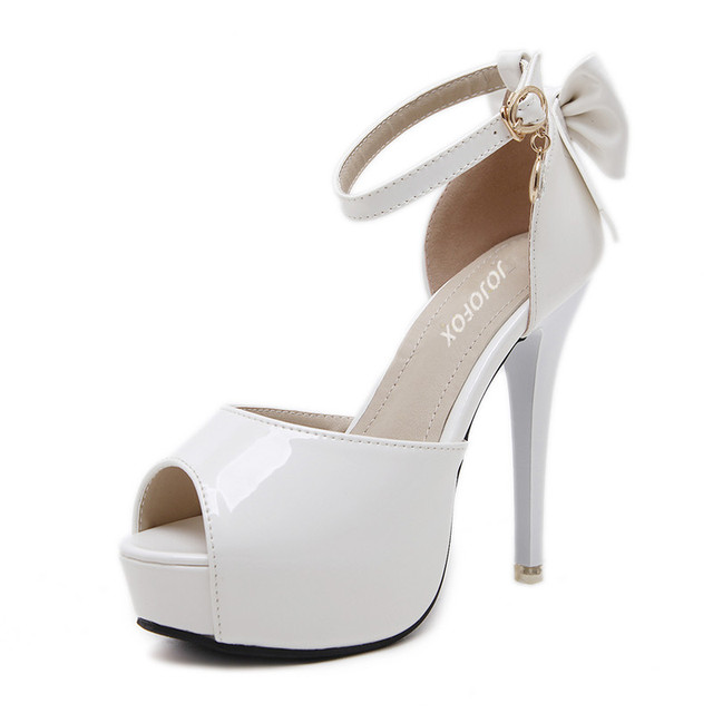 98a7cd893fb US $19.6 24% OFF|JOJOFOX Ivory White Womens High Heels Peep Toe Platform  High Sandals Sexy Pumps Lolita Shoes Stilettos For Women Summer Sandals -in  ...