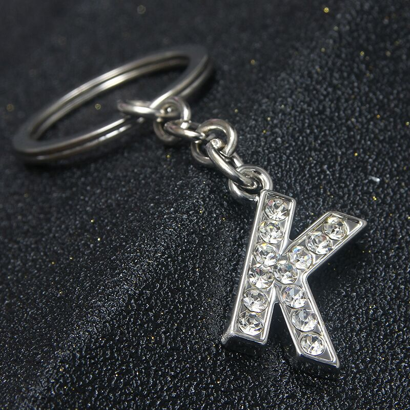 SUKI Crystal Alphabet Keyring Initial Letter K Key Ring Rhinestone Chain Unisex Keychain Letters For Women Men Christmas Gifts