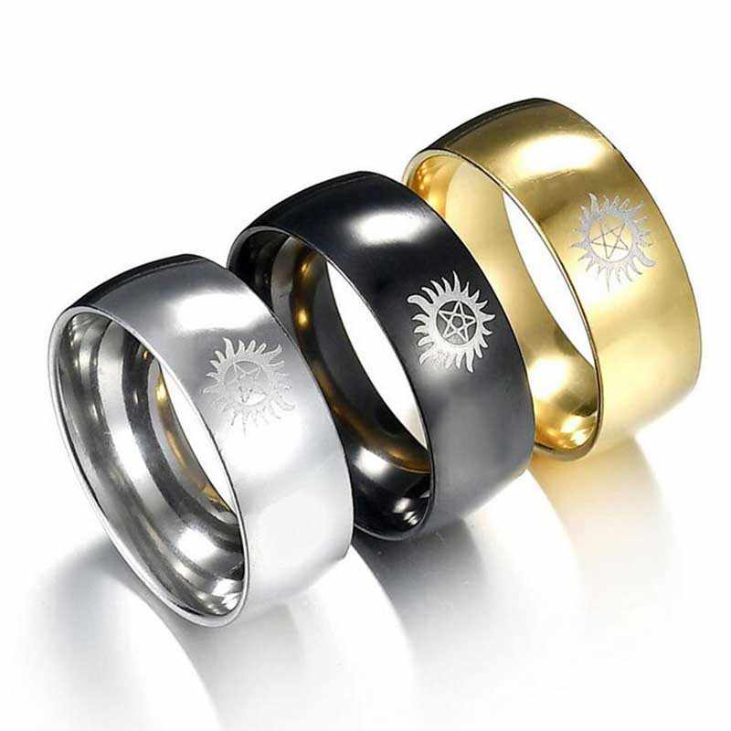 Hot Sales Silver / Black / Golden Dome Supernatural New Men Stainless Steel Ring Wedding Rings Anillos Mujer