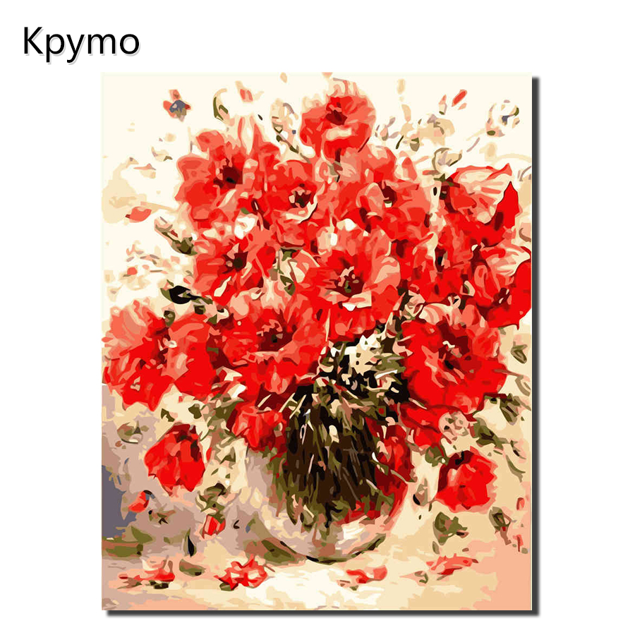 KPYTO Painting Calligraphy Decorative Acrylic Drawing Brush Flower Painting By Numbers Modular Canvas Picture By Numbers VA-1019
