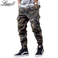 LOMAIYI Camo Joggers Men Cargo Pants Mens Military Black/Camouflage Pants Pure Cotton Men's Cargo Trousers With Pockets BM305