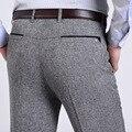Лето весна тонкий костюм брюки homme среднего возраста мужчин брюки моды белье брюки мужчины прямые свободные бизнес случайный брюки