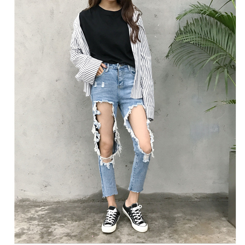 Ripped Jeans Female Casual Washed Loose Big Holes Boyfriend Jeans For Women Regular Long Torn Jeans Wild Denim Pants plus size 5xl street style boyfriend jeans women denim pants destroyed holes casual fashion loose fit torn ripped jeans female