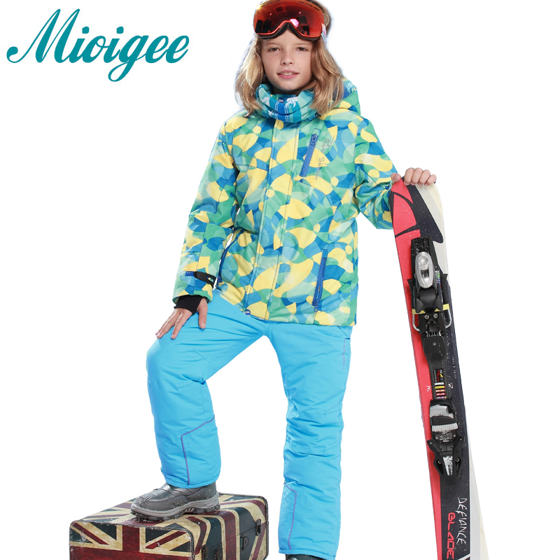 Mioigee 2017 Children Sets Kids Boys Clothing Ski Sets Coat+Pants Winter Warm Waterproof Suit for 6-16T 2016 winter boys ski suit set children s snowsuit for baby girl snow overalls ntural fur down jackets trousers clothing sets