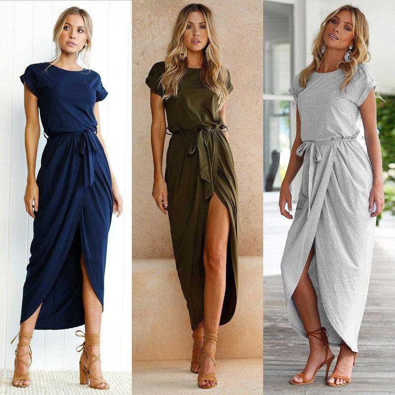 Nouveau Sexy Femmes O-cou À Manches Courtes Robes Tunique D'été Plage Soleil Casual Femme Robes Vêtements Pour Femmes Lady Bureau Longue Robe