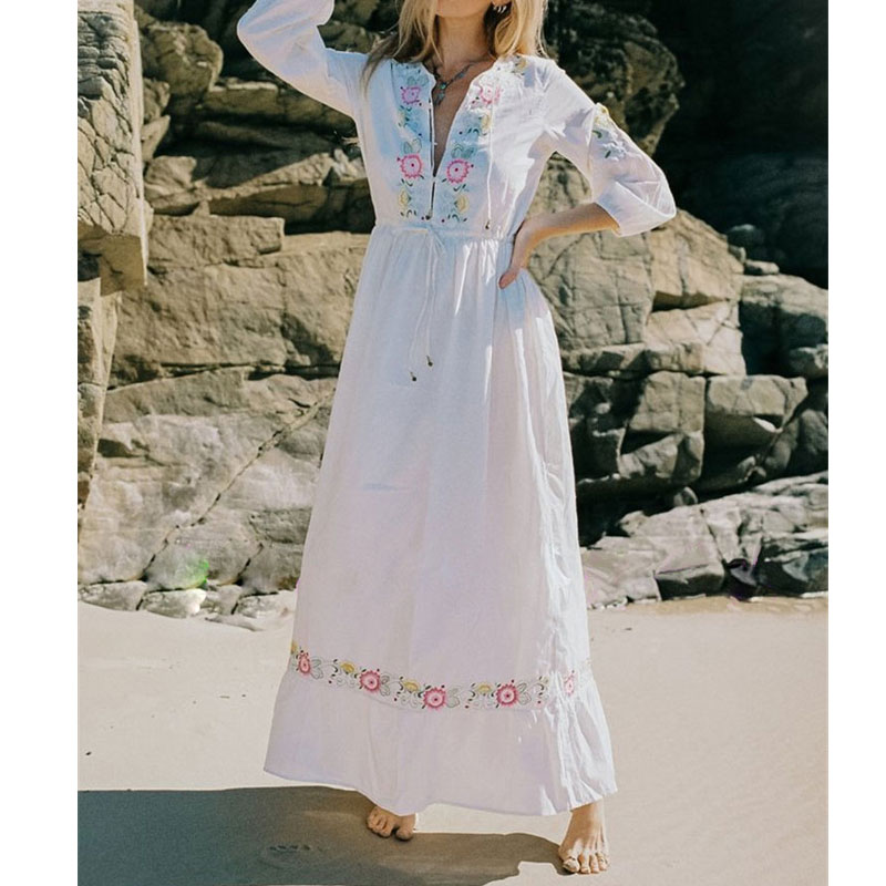 V Neck Embroidery Boho Women Dress 2019 Summer Autumn Holiday Beach Long Chic Hippie Female Dresses Party White Rope Vestidos outfits para playa mujer 2019