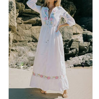 V Neck Embroidery Boho Women Dress 2019 Summer Autumn Holiday Beach Long Chic Hippie Female Dresses Party White Rope Vestidos