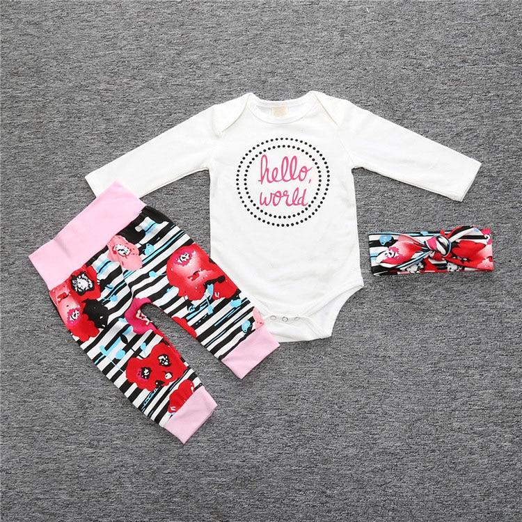 New Flower baby girl clothing set cotton long sleeve romper+ pants+headband 3pcs Infant bebe girl clothes sets toddler cloth set