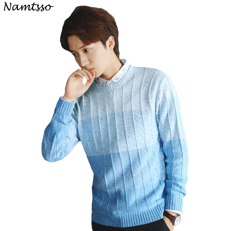100% Baumwolle Mode Lässig Pullover Männer 2018 Winter Oansatz Langarm Pullover Pullover Baumwolle Männlichen Schlank Bodenbildung Shirt 206