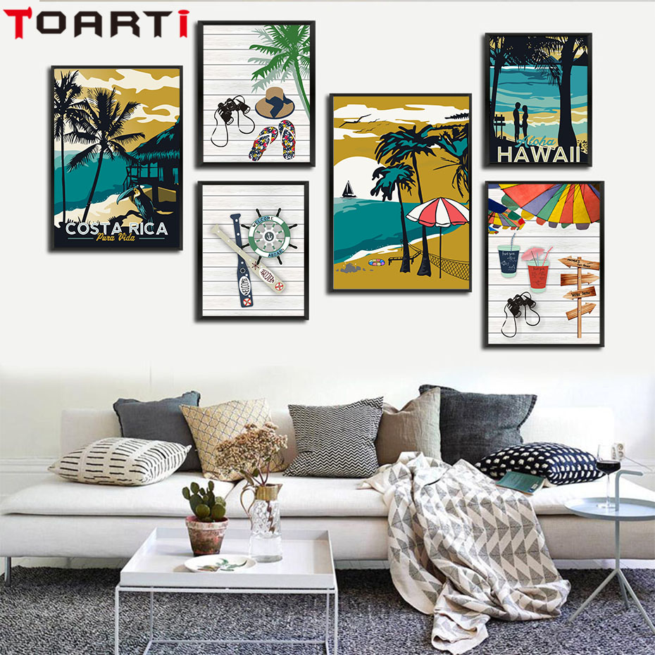 A Modern Art Deco Home Visualized In Two Styles: Modern Hawaii Aruba Costa Rica Impressionist Style Canvas