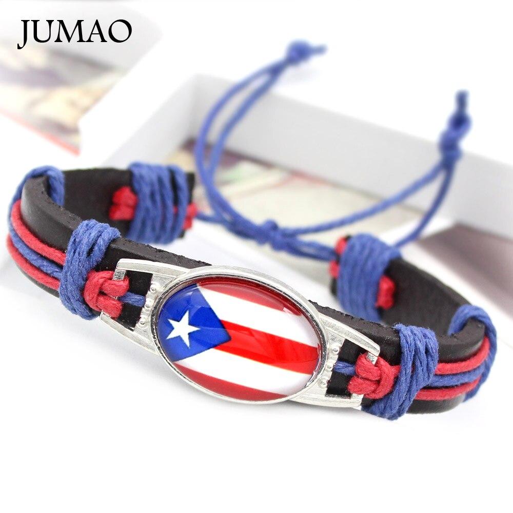 Puerto Rico Brasile Cuba Italia Messico Portogallo Panama Bandiera Giamaica Braccialetto Di Cuoio Dei Braccialetti Dei Monili Cabochon In Vetro Per Le Donne Degli Uomini