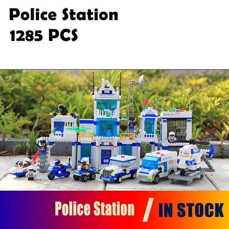 Kits de construction modèle poste de Police 1285 pièces Compatible avec la ville blocs 3D jouets éducatifs loisirs pour les enfants