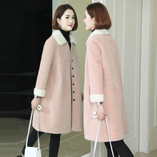 Real Fur Coat Winter Jacket Women Mink Fur Collar Sheep Shearling Fur Wool Coat Female Korean Pink Jackets AD-OG858 MY1927
