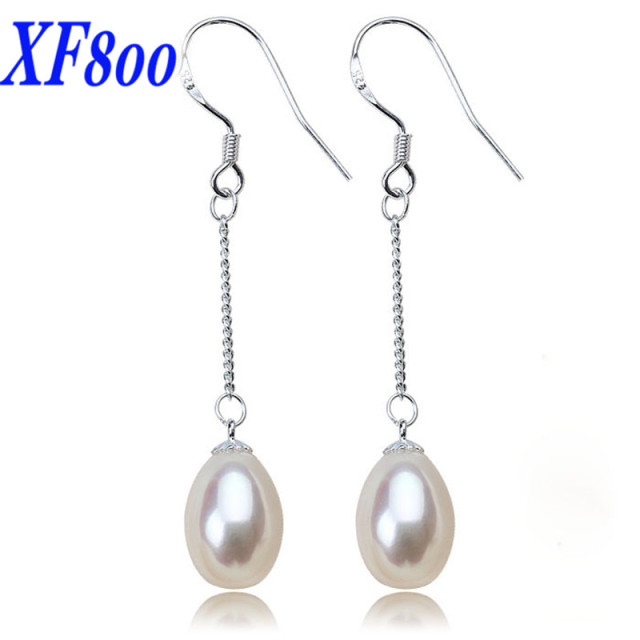 pearl size match all silver long earrings jewelry white natural item pear style freshwater real drop