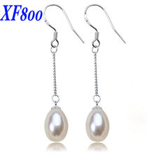 e0252db5b XF800 Long natural freshwater pear drop earrings.925 silver jewelry All  match white real pearl earrings for women S57