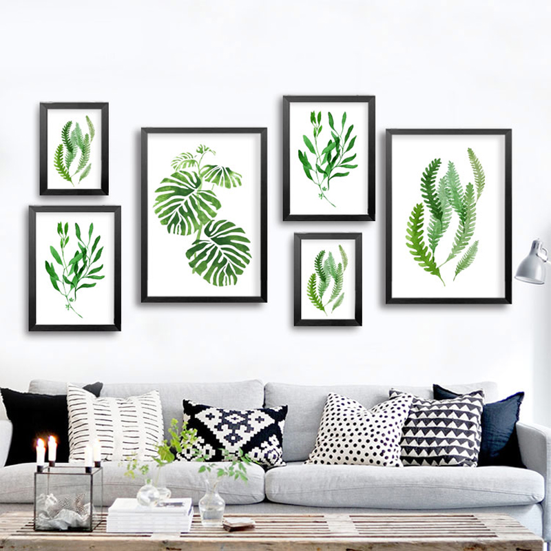 Abstract green plants canvas paintings natural leaf wall art pictures nordic posters prints for for Living room wall decor pictures