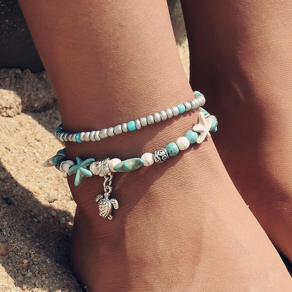 Beagloer Shell Beads Starfish Turtle Anklets Bracelet For  Multi Layer Anklet Leg Bracelet Handmade Bohemian Jewelry Gift