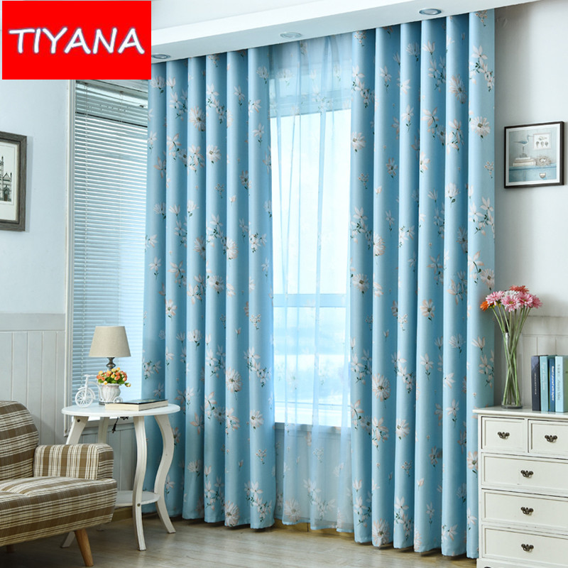 Printed Flower Fashion Blue Curtains For Living Room Blackout Grey Curtains  Drapes For Bedroom Window Blinds