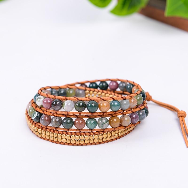 Leather Bloodstone Mala Beads 2