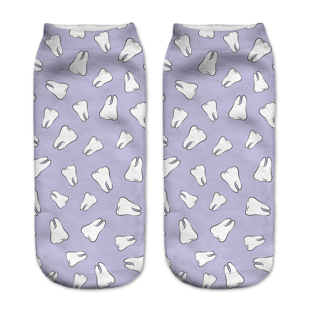 New Arrival Women   Socks   Christmas 3D Print Teeth Purple Harajuku Style Cute Calzini Unisex Calzas Low Cut Ankle   Sock   Calcetines