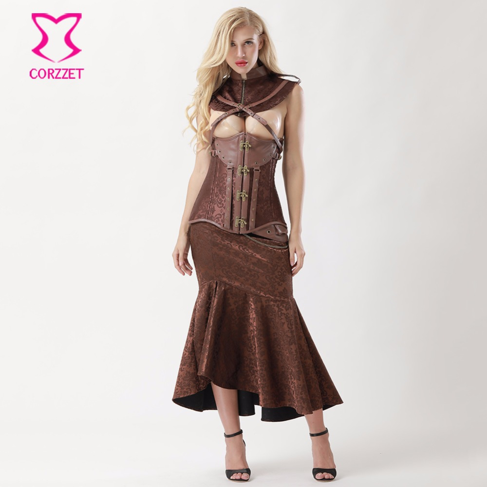 US $51.6 50% OFF|Brown Steel Underbust Steampunk Dress Vintage Corsets And  Bustiers Plus Size Gothic Clothing Women Burlesque Skirt Corset Set-in ...