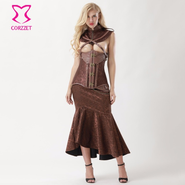 83710f5f37b Brown Steel Underbust Steampunk Dress Vintage Corsets And Bustiers Plus Size  Gothic Clothing Women Burlesque Skirt Corset Set