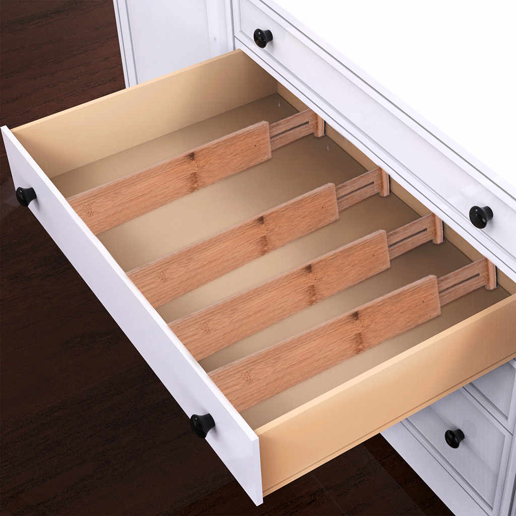 2pcs Bamboo Drawer Divider Adjustable Expendable Kitchen