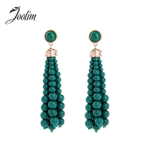 JOOLIM Pink Green White Bead Tassel Piercing Dangle Earring  Fashion Jewelry Wholesale High Quality