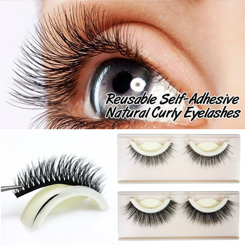 3D Mink False Self-Adhesive Natural Curly Reusable Eyelashes Extension Self-stick Eyelashes Eye Lashes Without Glue Makeup Tools
