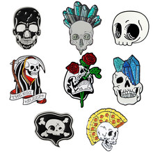 Skull lover Pins Punk Pizza Crystal column Rose Skull Skeleton Grim Reaper Brooch Lapel Pin Wholesale Enamel Pin Badge Jewelry(China)