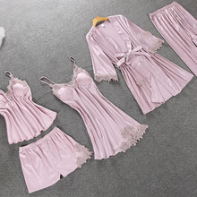 Pajamas-Set Satin Silk Women 5PCS Sleepwear Lace-Top Sexy Lingerie Elegant Autumn