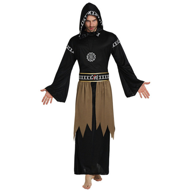 2017new adult wizards priest robes black cloak vampire cosplay costume party high quality black robe halloween