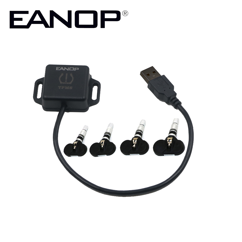 EANOP USB Android TPMS Car Tire Pressure Monitor Alarm Wireless transmission TPMS with 4 External Sensors