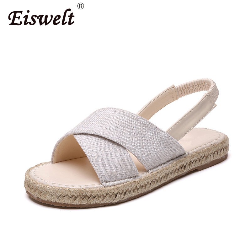 EISWELT New Women Sandals Summer Fashion Flat with Female Sandals Flat Shoes Bohemia Causal Ladies Footwear Solid Women Shoes