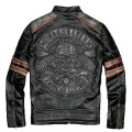 2017 Men Retro Vintage Men Motorcycle Leather Jacket Black Slim Skull Embroidery Pattern Cowskin Winter Biker Coat FREE SHIPPING