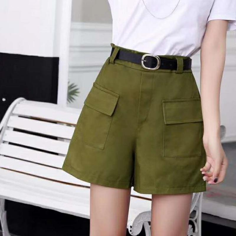 Summer With Belt Boy Friend Style Pocket Hot Shorts Wide Leg Women Casual Shorts Solid Color High Waist Shorts All Match Korean