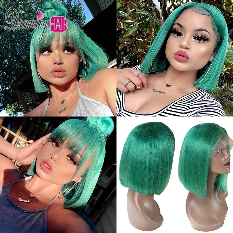 HTB1i6mLbeH2gK0jSZFEq6AqMpXaQ 13x6 Blue Bob Lace Front Human Hair Wigs Pre Plucked 613 Honey Blonde Purple Green Burgundy Yellow Ombre Colored Human Hair Wigs
