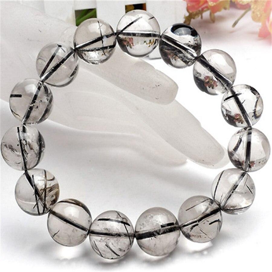 14mm Big Crystal Round Beads Bracelet Genuine Natural Black Hair Rutilated Quartz Round Clear Bead Stretch Powerful Men Bracelet