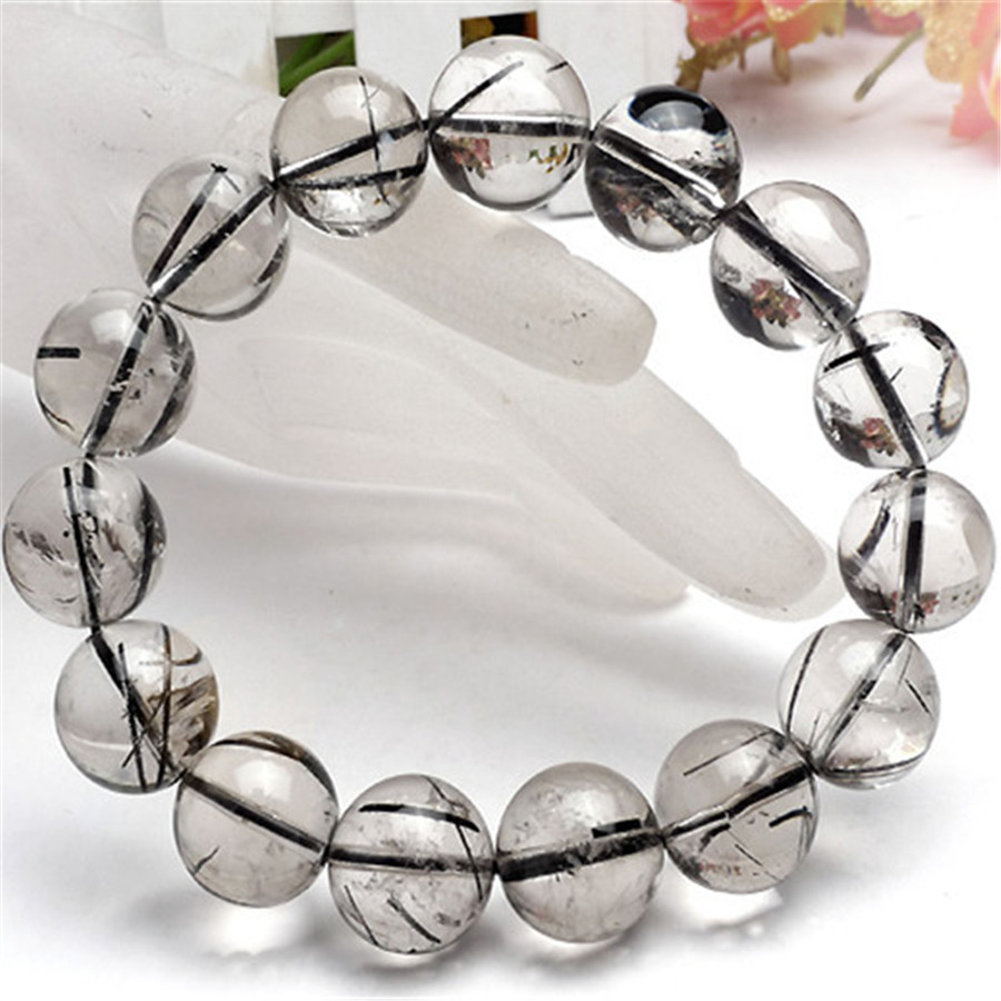 14mm Big Crystal Round Beads Bracelet Genuine Natural Black Hair Rutilated Quartz Round Clear Bead Stretch Powerful Men Bracelet