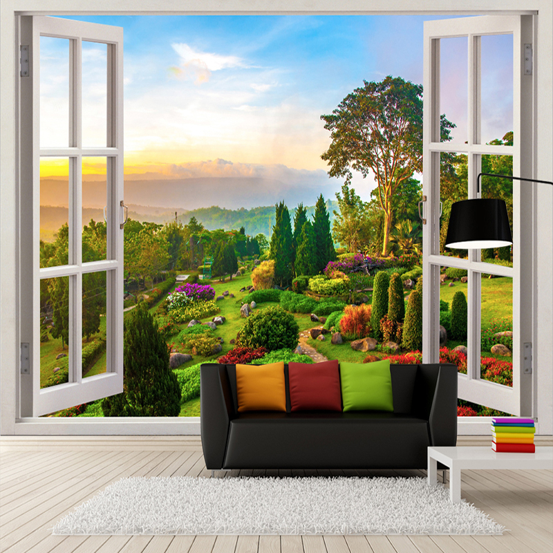 Custom Photo Wallpaper 3D Stereoscopic Outdoors Landscape Window Murals Living Room Sofa Background Wall Decoration Wallpaper chinese murals wallpaper deer woods custom photo wallpaper 3d stereoscopic wallpaper living room tv background wall