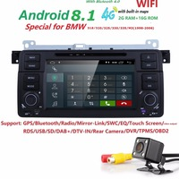 2G7 сенсорный HD Android8.1 стерео радио gps OBD2 DAB + для BMW E46 WI FI/4G Bluetooth BT DTV HD DVB T DVR встроенный микрофон SWC DAB карта