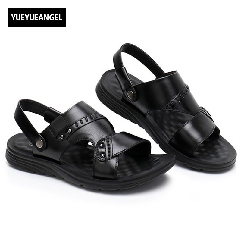 High Quality Summer Leather Sandal For Men Slip On Open Toes Beach Slippers Antiskid Platform Retro Herren Sandalen Casual Shoes