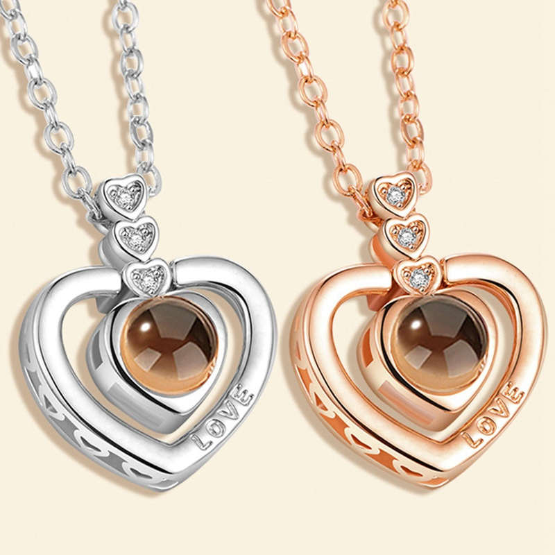 2018 New Rose Gold Silver Color Heart In Heart Love Necklace Memory Projection Pendant Wedding Letter Necklace